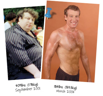 Actual, untouched before and after pictures of Jon's 220 pound weight loss transformation.